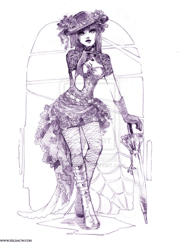 6 gothic fashion sketch - 30+ Cool Fashion Sketches