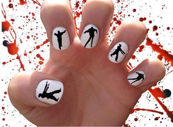 1 zombie walkers - 30 Cool Halloween Nail Art Ideas