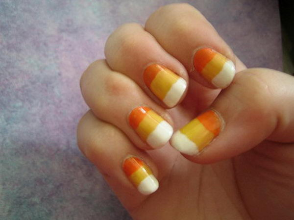 10 candy corn nails - 30 Cool Halloween Nail Art Ideas