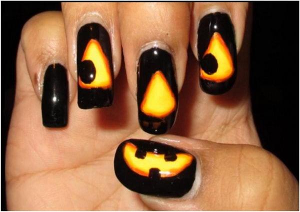 25 glowing jack o lantern - 30 Cool Halloween Nail Art Ideas