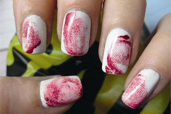 7 bloody fingerprint nails - 30 Cool Halloween Nail Art Ideas
