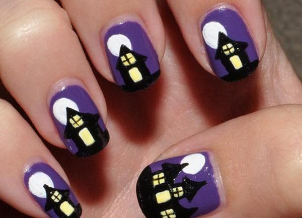 8 spooky haunted house - 30 Cool Halloween Nail Art Ideas