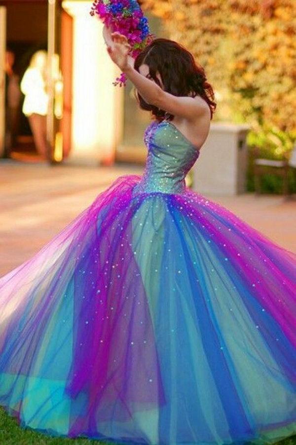 2 rainbow colored dress designs - 30 Gorgeous Rainbow Colored Dress Designs