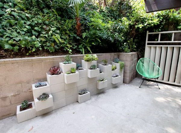 17 cinder block stacked planters - 20 Cool DIY Concrete Project Ideas
