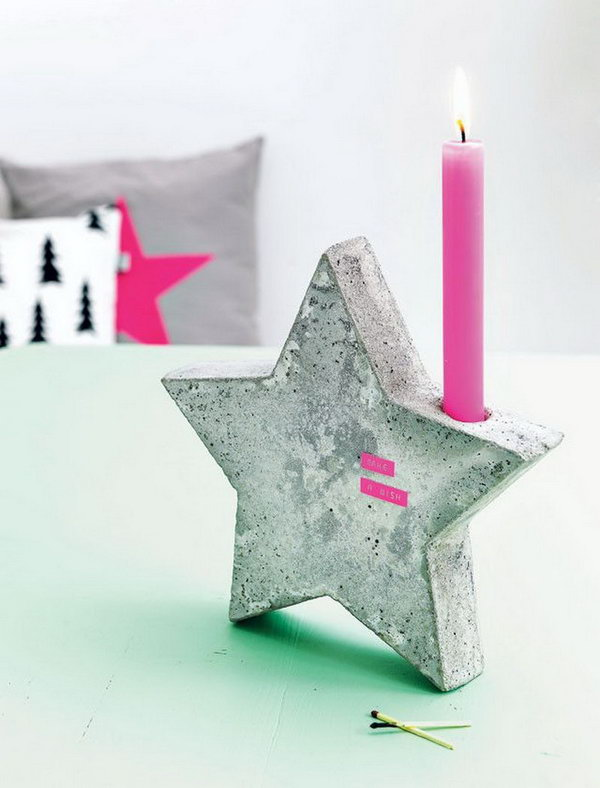 19 cute candle holder - 20 Cool DIY Concrete Project Ideas