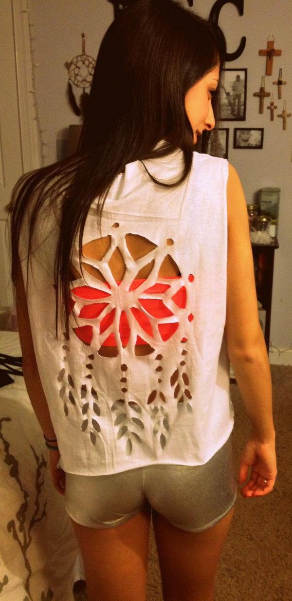 5 dream catcher t shirt cutting - 25 DIY T-Shirt Cutting Ideas for Girls