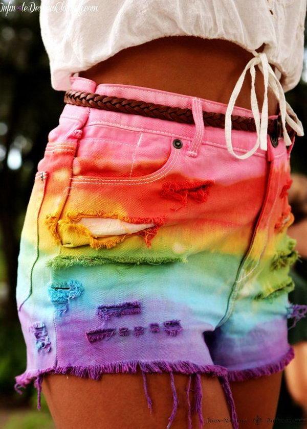 2 rainbow tie dye shorts - 20 Cool DIY Shorts Ideas for Girls