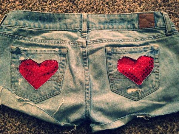 3 heart cut off jean shorts - 20 Cool DIY Shorts Ideas for Girls