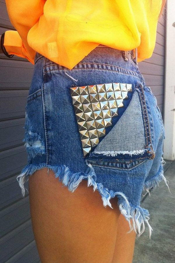 6 studded shorts - 20 Cool DIY Shorts Ideas for Girls