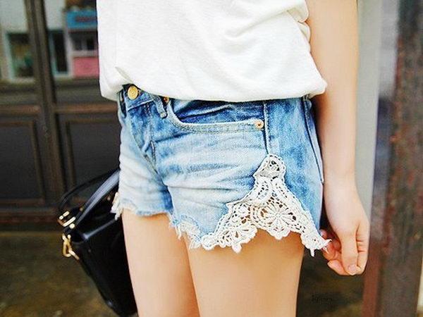 9 lace denim shorts - 20 Cool DIY Shorts Ideas for Girls