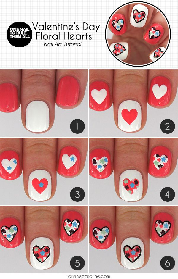1 valentines heart nail art designs - Step By Step Heart Nail Art Designs for Valentine's Day