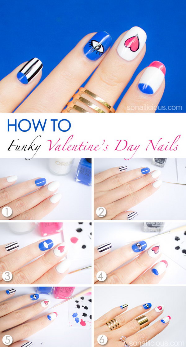 10 valentines heart nail art designs - Step By Step Heart Nail Art Designs for Valentine's Day