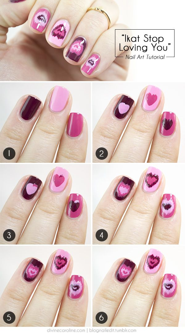 3 valentines heart nail art designs - Step By Step Heart Nail Art Designs for Valentine's Day