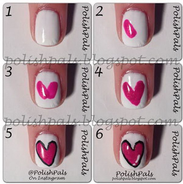 4 valentines heart nail art designs - Step By Step Heart Nail Art Designs for Valentine's Day