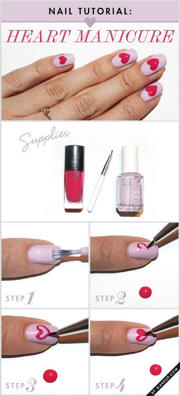 8 valentines heart nail art designs - Step By Step Heart Nail Art Designs for Valentine's Day
