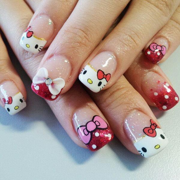 10 cute hello kitty nail art designs - Cute Hello Kitty Nail Art Designs