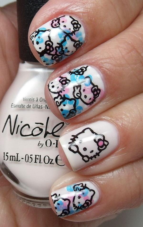 12 cute hello kitty nail art designs - Cute Hello Kitty Nail Art Designs