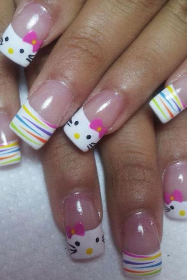 16 cute hello kitty nail art designs - Cute Hello Kitty Nail Art Designs