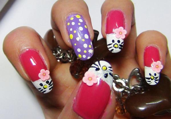 7 cute hello kitty nail art designs - Cute Hello Kitty Nail Art Designs