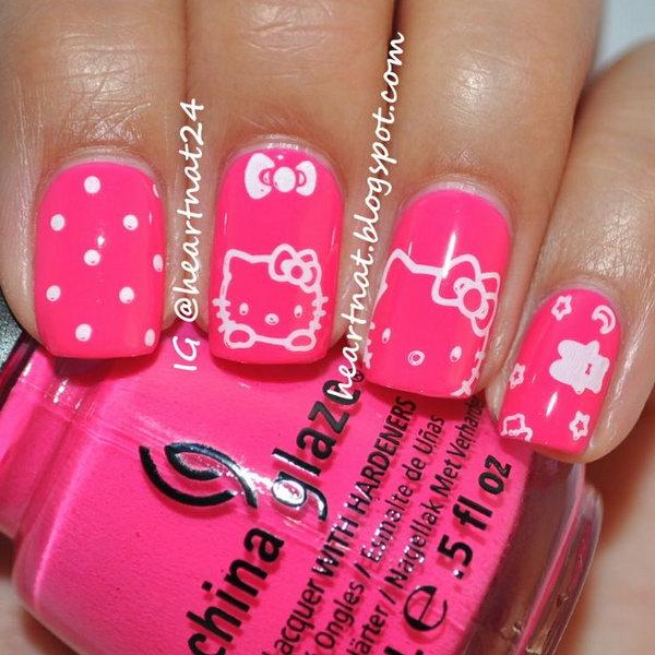 9 cute hello kitty nail art designs - Cute Hello Kitty Nail Art Designs