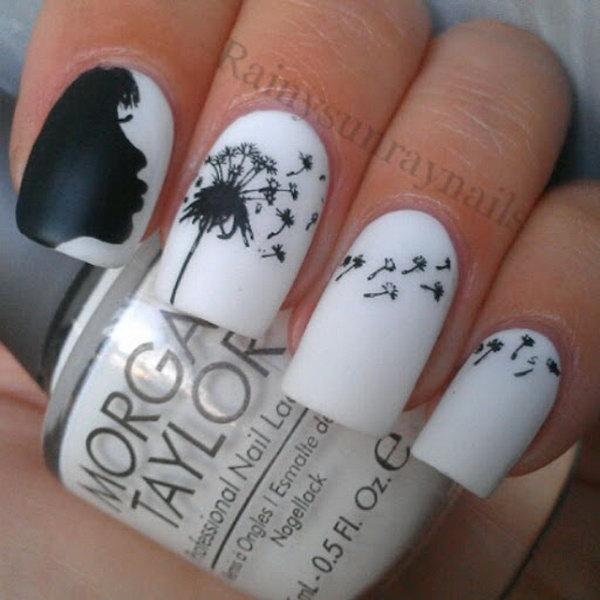 2 dandelion nail art - Cute Dandelion Nail Art Designs