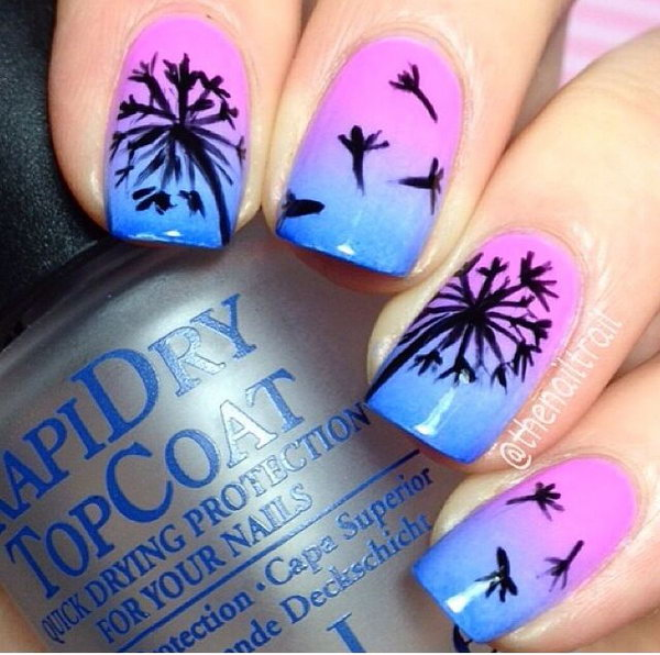 3 dandelion nail art - Cute Dandelion Nail Art Designs