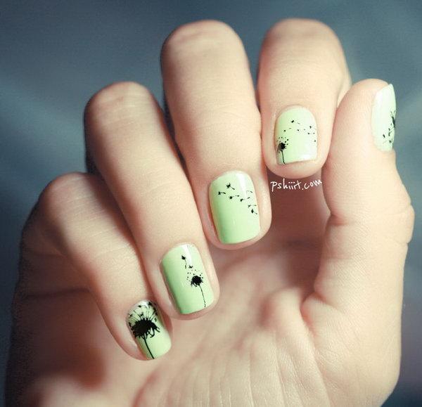 5 dandelion nail art - Cute Dandelion Nail Art Designs