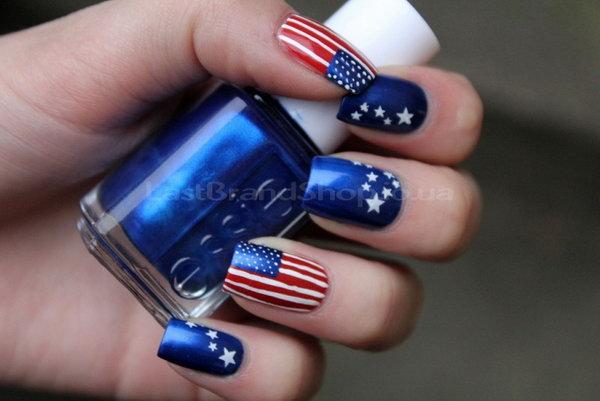 1 american flag stripes stars nails - 30+ American Flag Inspired Stripes and Stars Nail Ideas & Tutorials