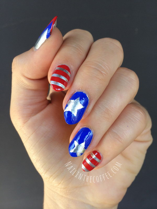 10 american flag stripes stars nails - 30+ American Flag Inspired Stripes and Stars Nail Ideas & Tutorials