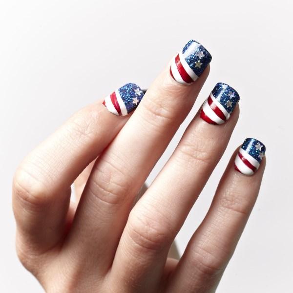 14 american flag stripes stars nails - 30+ American Flag Inspired Stripes and Stars Nail Ideas & Tutorials