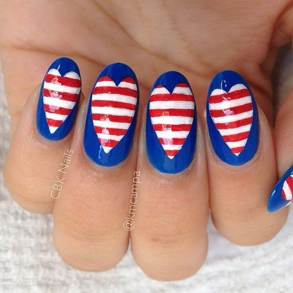 15 american flag stripes stars nails - 30+ American Flag Inspired Stripes and Stars Nail Ideas & Tutorials