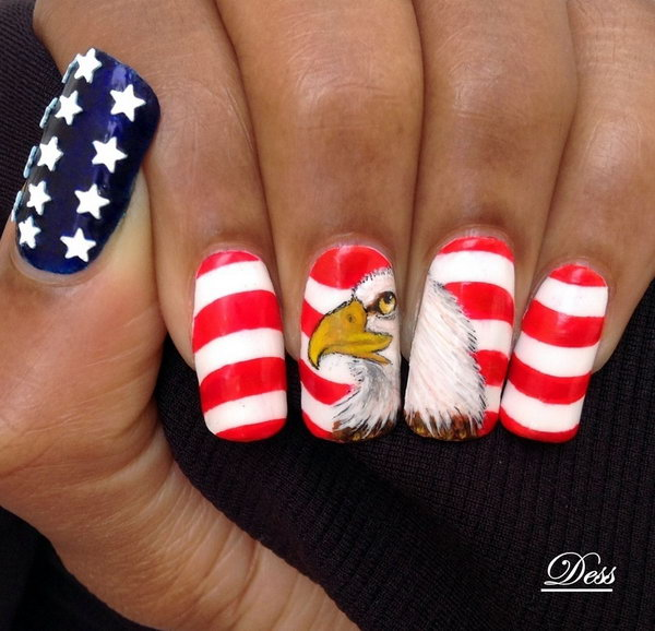 16 american flag stripes stars nails - 30+ American Flag Inspired Stripes and Stars Nail Ideas & Tutorials