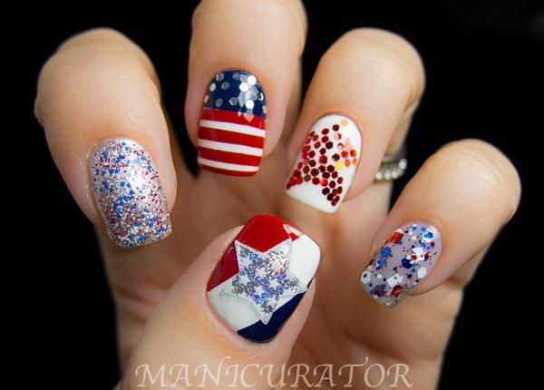 2 american flag stripes stars nails - 30+ American Flag Inspired Stripes and Stars Nail Ideas & Tutorials