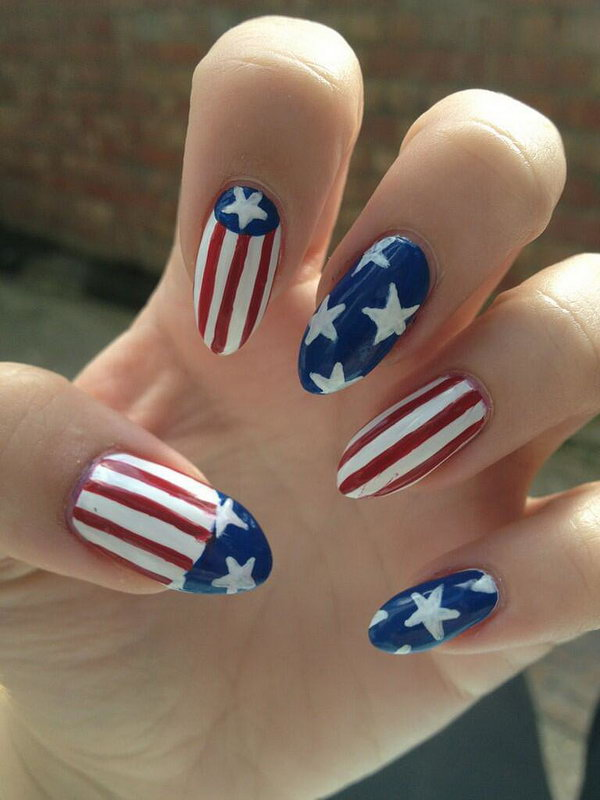 22 american flag stripes stars nails - 30+ American Flag Inspired Stripes and Stars Nail Ideas & Tutorials