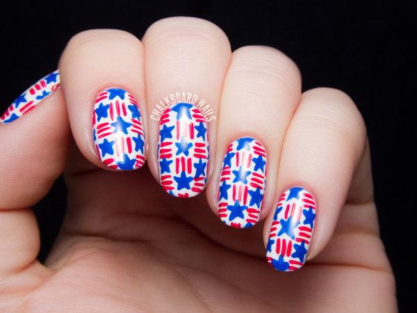 7 american flag stripes stars nails - 30+ American Flag Inspired Stripes and Stars Nail Ideas & Tutorials