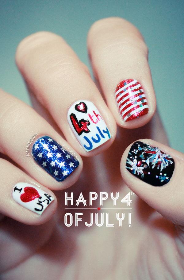 38 cute 4th of july patriotic nail art - 36 Cute 4th of July Patriotic Nail Art Ideas