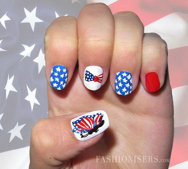 4 cute 4th of july patriotic nail art - 36 Cute 4th of July Patriotic Nail Art Ideas