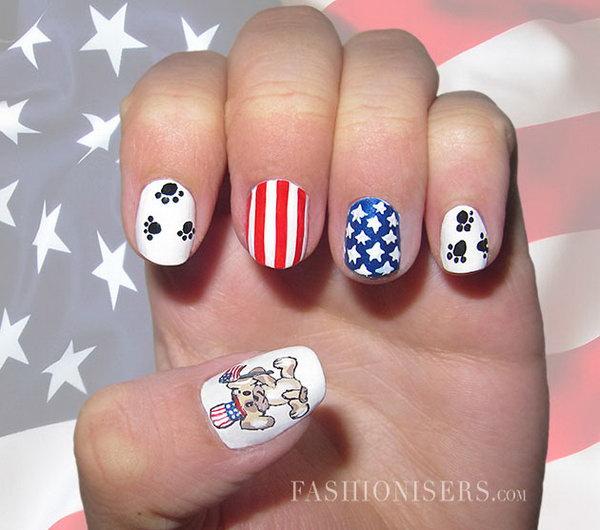 6 cute 4th of july patriotic nail art - 36 Cute 4th of July Patriotic Nail Art Ideas