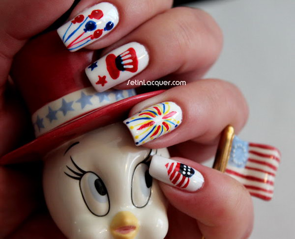 9 cute 4th of july patriotic nail art - 36 Cute 4th of July Patriotic Nail Art Ideas
