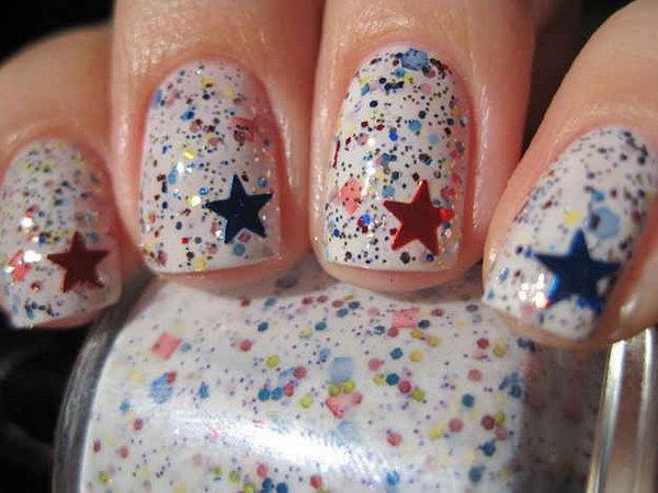 12 glitter 4th of july nails - 20+ Glitter 4th of July Nail Art Ideas & Tutorials