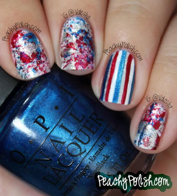 19 glitter 4th of july nails - 20+ Glitter 4th of July Nail Art Ideas & Tutorials