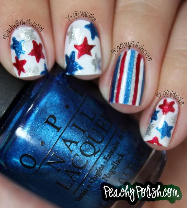 20 glitter 4th of july nails - 20+ Glitter 4th of July Nail Art Ideas & Tutorials