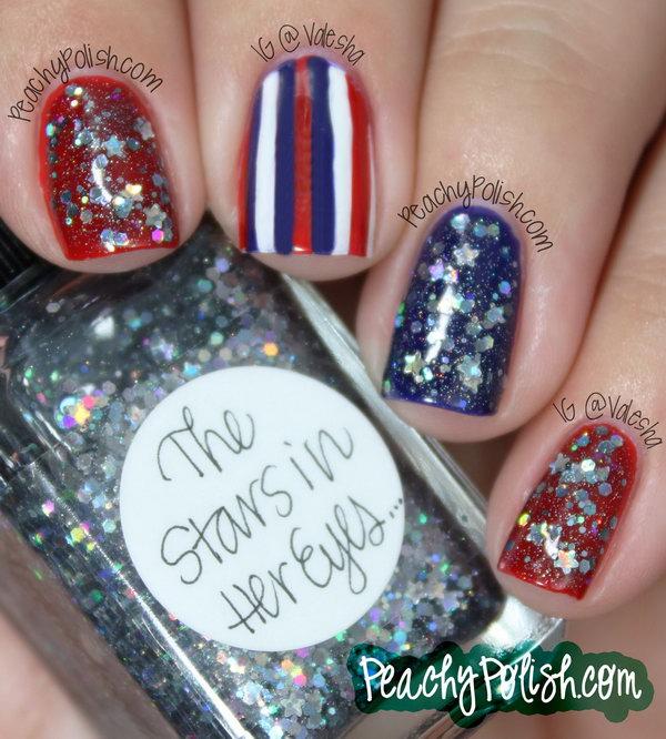 21 glitter 4th of july nails - 20+ Glitter 4th of July Nail Art Ideas & Tutorials