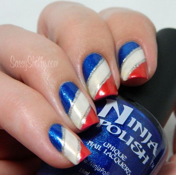 27 glitter 4th of july nails - 20+ Glitter 4th of July Nail Art Ideas & Tutorials