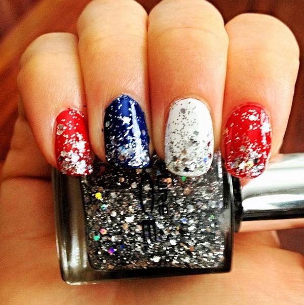4 glitter 4th of july nails - 20+ Glitter 4th of July Nail Art Ideas & Tutorials