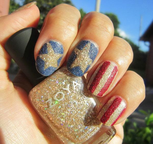 5 glitter 4th of july nails - 20+ Glitter 4th of July Nail Art Ideas & Tutorials