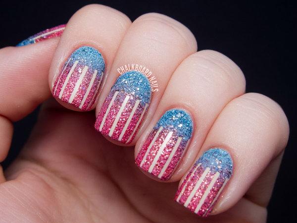8 glitter 4th of july nails - 20+ Glitter 4th of July Nail Art Ideas & Tutorials