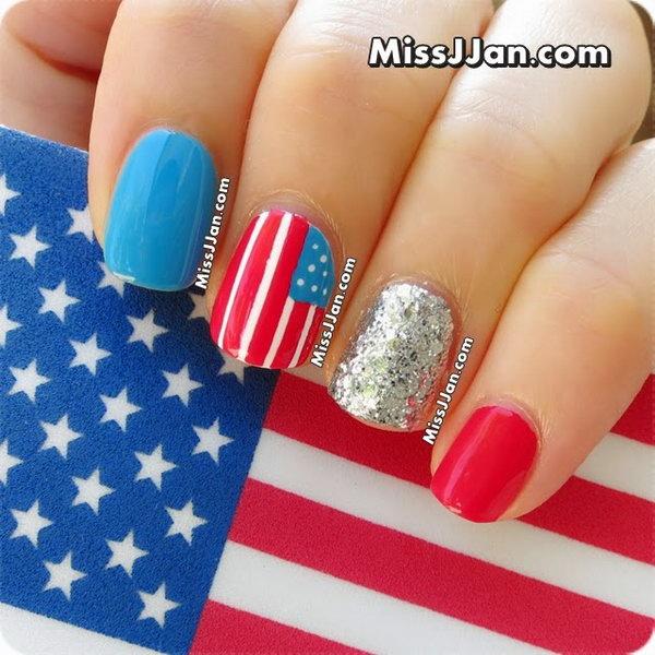 9 glitter 4th of july nails - 20+ Glitter 4th of July Nail Art Ideas & Tutorials