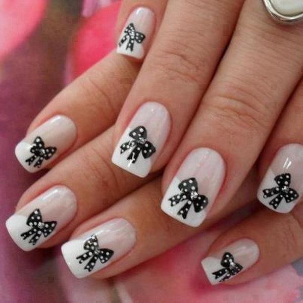 30 bow nail design ideas - 45 Wonderful Bow Nail Art Designs