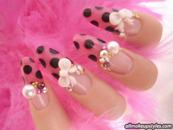 45 bow nail design ideas - 45 Wonderful Bow Nail Art Designs